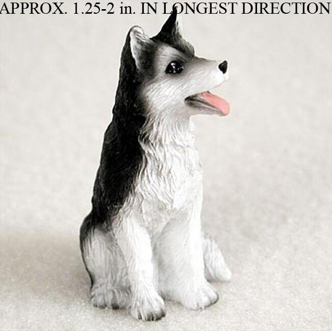 Husky Mini Hand Painted Figurine Black/White Brown Eyed