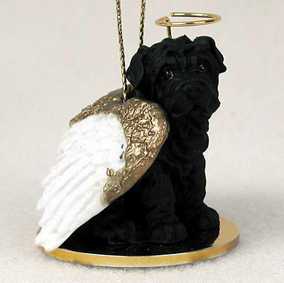 Shar Pei Dog Figurine Angel Statue Black
