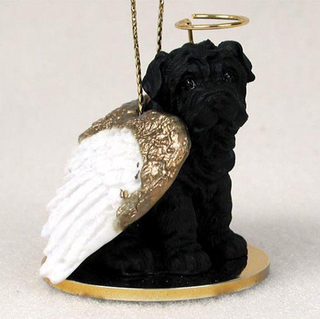 Shar Pei Ornament Angel Figurine Hand Painted Black