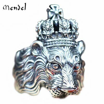MENDEL Vintage Mens Lion Head Ring Crown Biker King Gothic Band Silver Size -