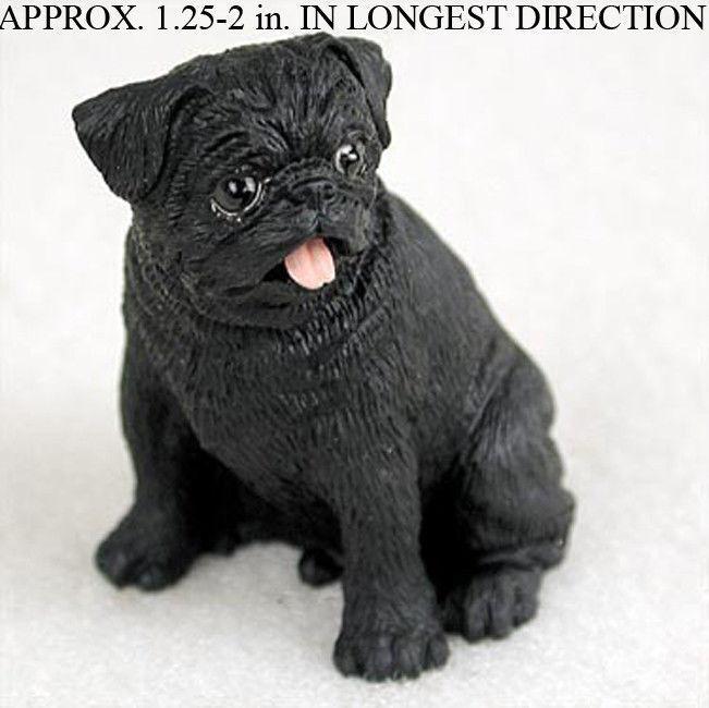 Pug Mini Hand Painted Figurine Black