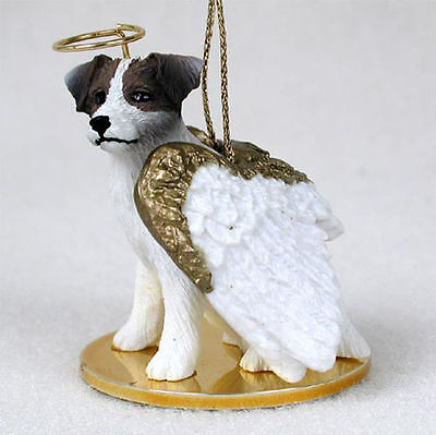 Jack Russell Rough - Jack Russell Ornament Angel Figurine Hand Painted Brown/White Rough