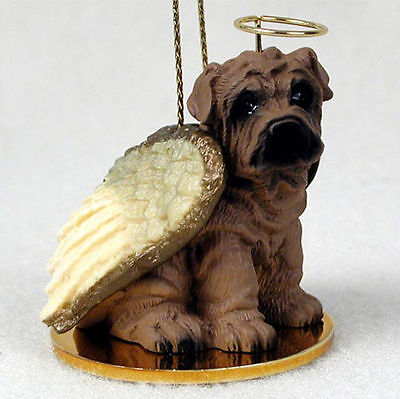 Shar Pei Dog Figurine Angel Statue Hand Painted Brown