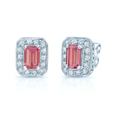 - 1.75 TCW 14k White Gold Emerald Cut Pink Tourmaline Octagon Diamond Earrings