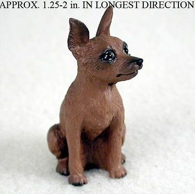 Miniature Pinscher Resin Dog Figurine Red/Brown