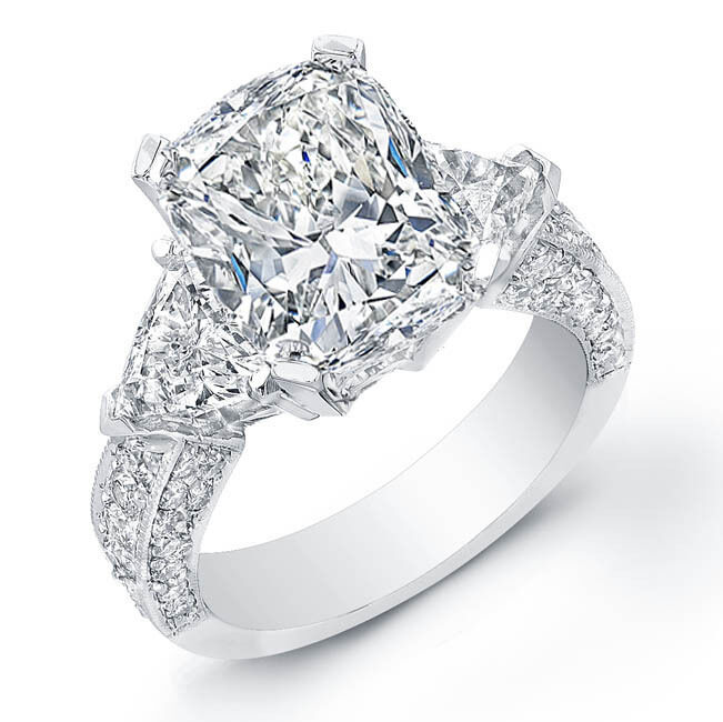 2.51 Ct. Cushion Cut,Trillion & Pave Round Diamond Engagement Ring G,VS1 GIA 14K