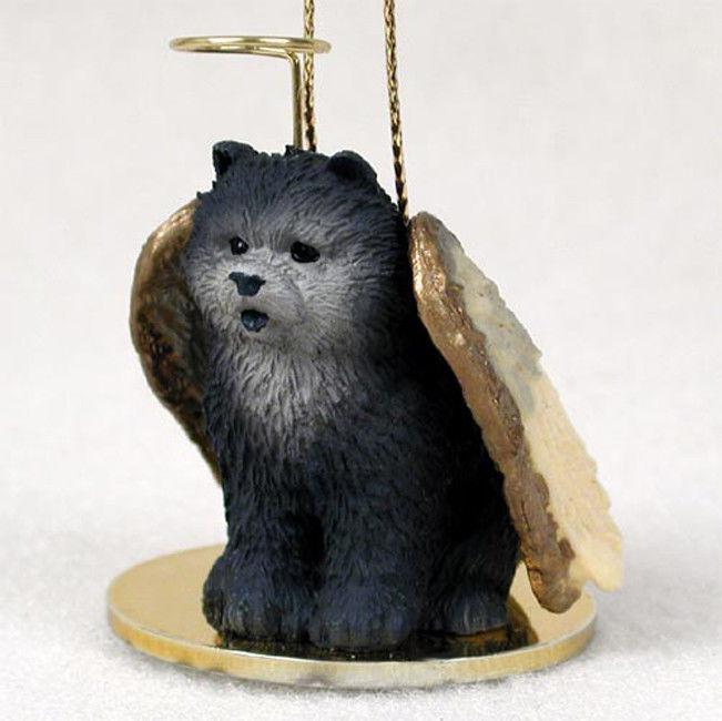 Chow Chow Ornament Angel Figurine Hand Painted Blue