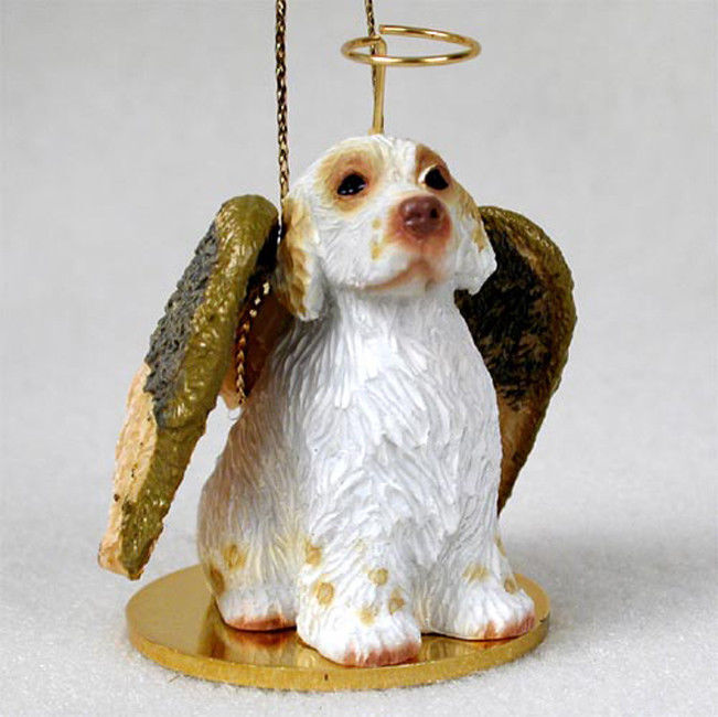 Clumber Spaniel Ornament Angel Figurine Hand Painted