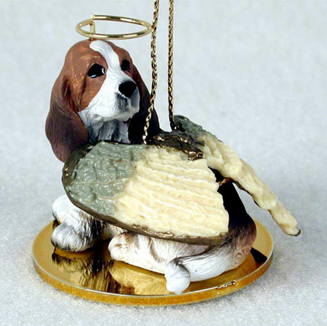 Basset Hound Ornament Angel Figurine Hand Painted