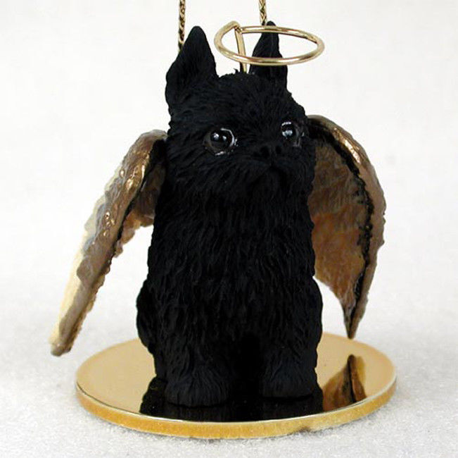 Brussels Griffon Ornament Angel Figurine Hand Painted Black