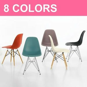 Dsw or dsr mcm molded plastic side chair eiffel dowel leg for Eames molded plastic dowel leg side chair