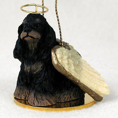 Cocker Spaniel Ornament Angel Figurine Hand Painted Black/Brown