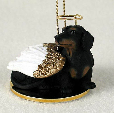 Dachshund Ornament Angel Figurine Hand Painted Black