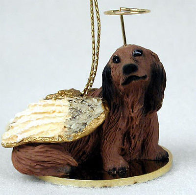 Dachshund Ornament Angel Figurine Hand Painted Red Longhair