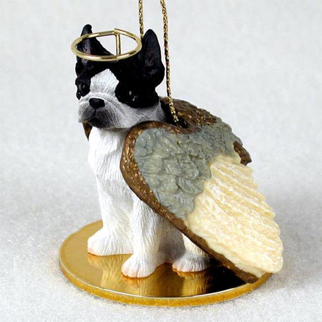 Boston Terrier Ornament Angel Figurine Hand Painted