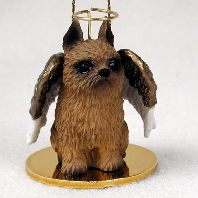 Brussels Griffon Ornament Angel Figurine Hand Painted Red