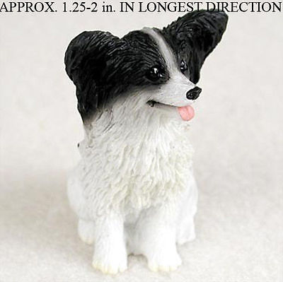 Papillon Mini Resin Hand Painted Dog Figurine Black/White