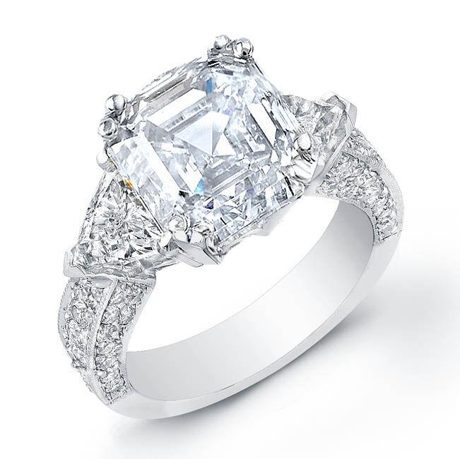 2.20 Ct. Asscher Cut,Trillion & Pave Round Diamond Engagement Ring F,VS2 GIA 14K