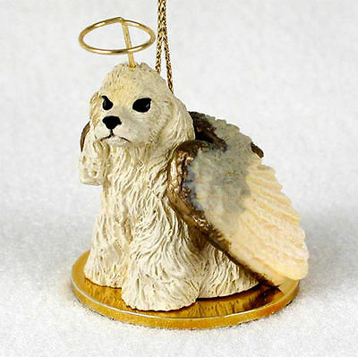 Cocker Spaniel Ornament Angel Figurine Hand Painted Blonde