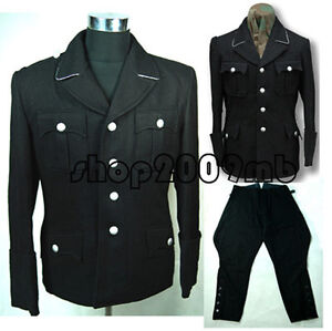 WW2 German Elite M32 Officer Black Wool Uniform Tunic w Breeches M