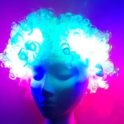 LED Leucht Perücke Disco Afro weiss mit 3 Leuchten LED-Perücke Light Up Wig ()