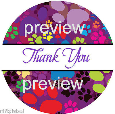 Puppy Dog Paw Print 112 Thank You Sticker Labels - Laser Printed