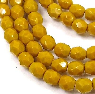 50 Firepolish Czech Faceted Round Beads 4mm - Goldenrod (Firepolish 4mm Round Faceted Beads)