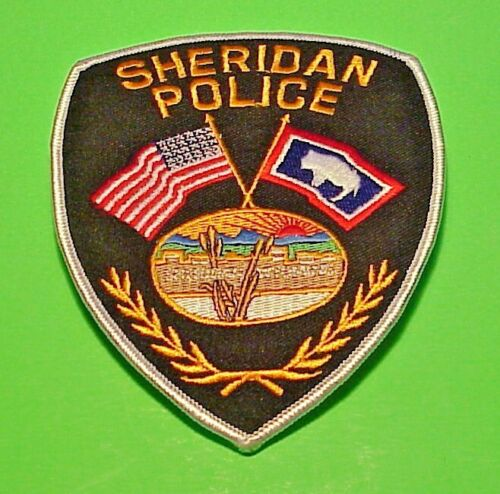 """SHERIDAN  WYOMING  WY ( SILVER BORDER )  5""""  POLICE PATCH  FREE SHIPPING!!!"""