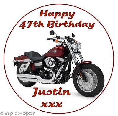 Harley Davidson Personalised Icing Birthday Cake Decoration Topper - Harley Davidson Birthday Decorations