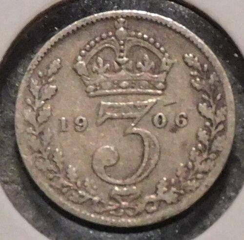 British Silver Threepence - 1906 - King Edward VII - $1 Unlimited Shipping