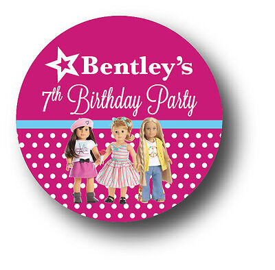 30 AMERICAN GIRL DOLL Personalized Birthday Party Favors Stickers](Party Birthday Girl)