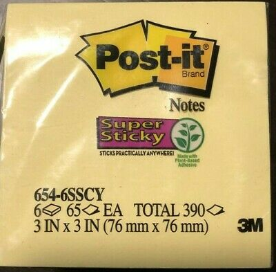 Post-it Super Sticky Notes 3 X 3 Canary Yellow Pack Of 6 Pads