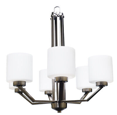 Contemporary Brushed Nickel 6 Light Chandelier White Frosted Glass