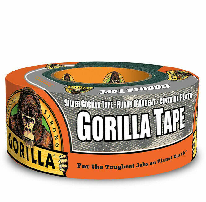 Gorilla Silver Duct Tape Heavy Duty Weather Resistant Uneven Surfaced Repair Quk