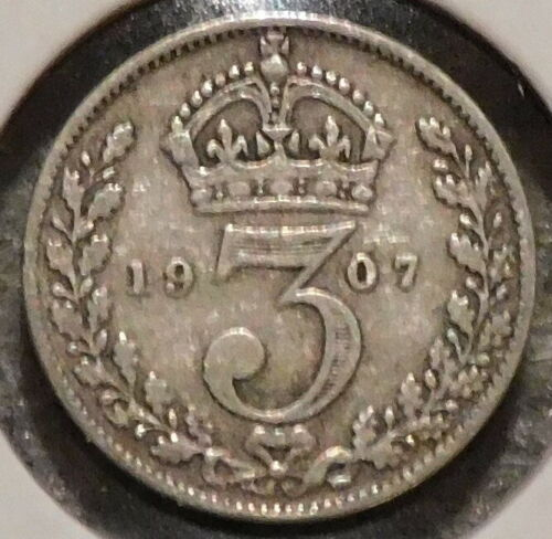 British Silver Threepence - 1907 - King Edward VII - $1 Unlimited Shipping