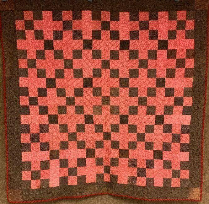 Primitive PA c 1880-1900 Nine Patch QUILT Crib Antique Browns