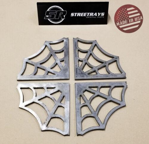 """[SR] Spider Web Steel Gusset 3/16"""" Mild Steel Weld 4"""" x 4"""" Legs Rat Rod Cage x4"""