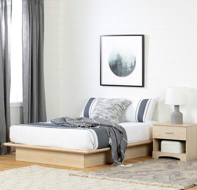 South Shore Basics Full Platform Bed with Molding, Multiple