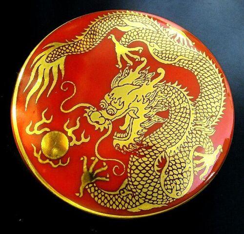 1 Czech RED Glass Button #B435 - XXLarge-SPARKLING 24 CR GOLD  DRAGON
