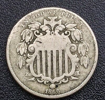 1866  SHIELD NICKEL TYPE COIN   LOWER GRADE EXAMPLE