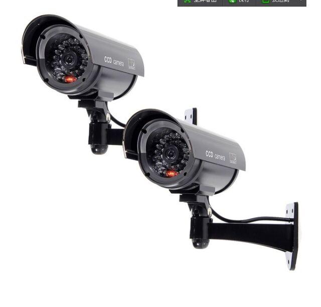2x Flashing Light Dummy Security Camera Fake Infrared LED Surveillance Bullet HY