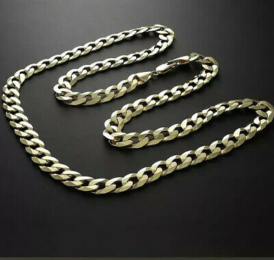 """Stunning 9ct Solid Gold Heavy 22"""" 56G 10mm Italian Bevelled Edge Curb Chain"""