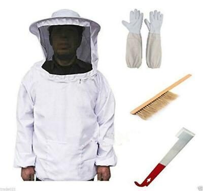 Beekeeping Suit Bee Honey Keeping Equipment Gloves Hive Brush Hook Veil Set Q