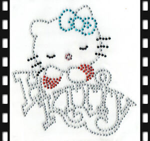 Hello Kitty Bügelbild Strass Hotfix Patch 15x14cm T0083 Neu