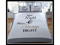 Mr & Mrs Right Duvet Set