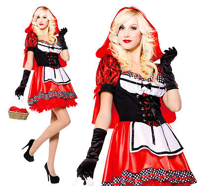 Ladies Sexy Little Red Riding Hood Fancy Dress Costume Outfit UK 10-14 (Halloween Red Riding Hood Uk)