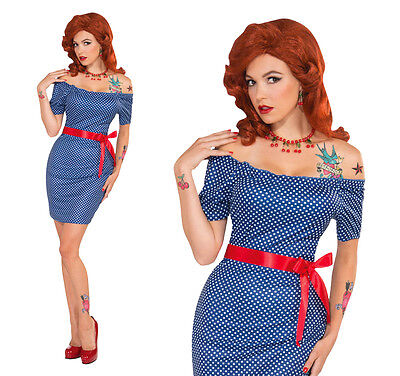 Ladies Betty Blue Outfit Rock N Roll Fancy Dress Costume 50s 60s Pin Up UK 10-14 (60's Pin Up Kostüm)