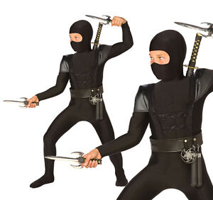 Childrens Black Ninja Fancy Dress Costume Samurai Warrior Outfit Childs Kids L
