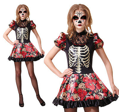 Ladies Day Of The Dead Doll Fancy Dress Costume Halloween Skeleton UK 10-14 (Day Of The Dead Halloween Costume Uk)