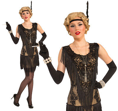 Ladies Deluxe Back Flapper Fancy Dress Costume 1920 Charleston Outfit UK 10-14 - Gangster Halloween Costumes Uk